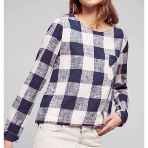 Anthropologie Cloth & Stone Gingham Blouse